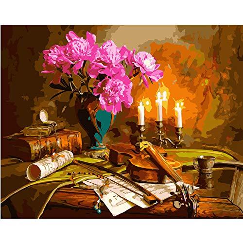 SiJOO Violinenstillleben-Segeltuchhochzeitsdekorationskunst-Bildgeschenk der Digital-Malerei DIY40x50 unter Kerzenlicht -