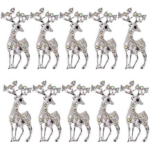Ogquaton 10Pcs-Christmas Deer Flatback Verzierungen mit bunten Strass für Weihnachtsdekoration Handwerk langlebig und praktisch