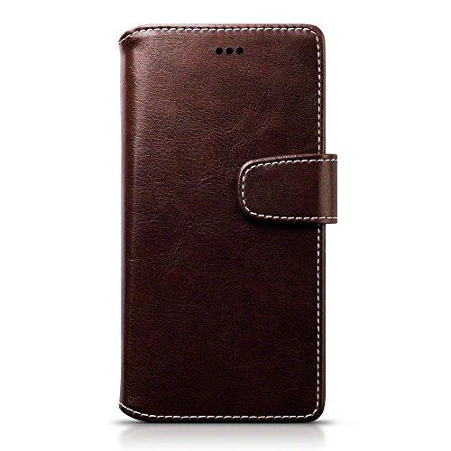 Huawei P9 Case, Terrapin Leder Brieftasche Case Hülle mit Standfunktion Kartenfächer für Huawei P9 Hülle Braun mit Weiß Nähend