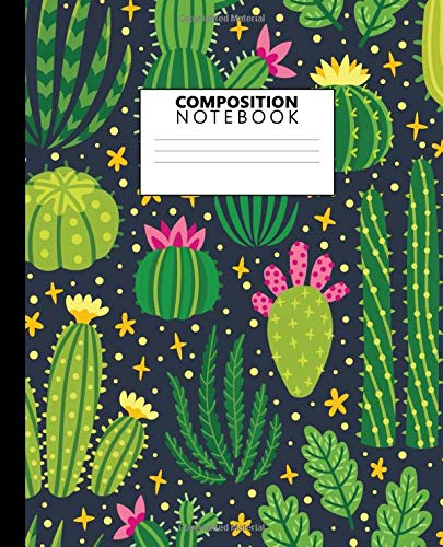 80 Medium Natural (Composition Notebook: Pretty College Ruled Notebook for School, University and College. Nifty Lined Journal for Students, Kids and Teens for Writing & Notes - Natural Cartoon Cactus Print)