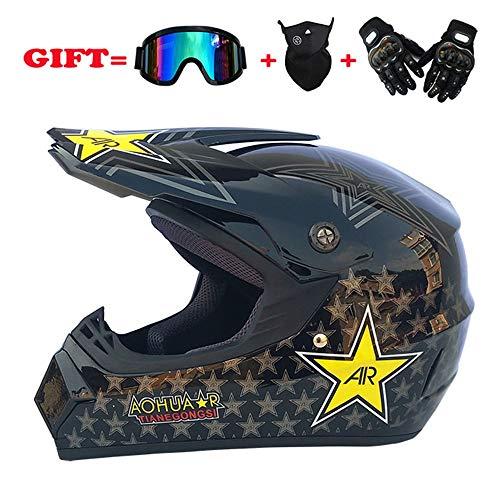 ZXF Full Face Motocross Helm Road Off-Road Racing Helm für Männer und Frauen mit winddichter Halbmaske und Reithandschuhen mit harten Schalen - groß - Schwarz mit Sternenmuster Sicherheit (Bike-helme Mädchen Schmutz)