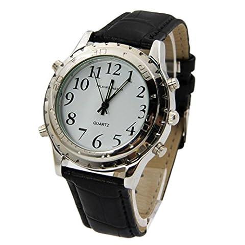 Rcool Englisch runde Quarz Talking Clock Edelstahl für blinde oder sehbehinderte Uhr
