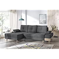Bobochic Sven I Canapé d'angle Convertible Angle Gauche Tissu Gris Anthracite 266 x 153 x 92 cm