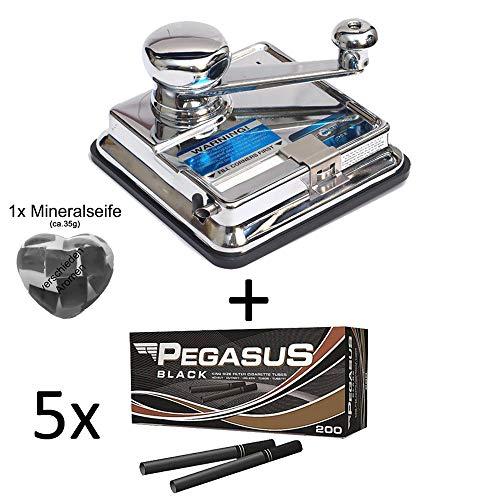 OCB® MikrOmatic Duo (Stopfmaschine) + 1.000 (5x200) Pegasus Black (Zigarettenhülsen) + 1x Seife Continental Duo