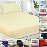Highliving Flat sheets Percale Plain Dyed Poly Cotton Single Double King size (Single, Cream)