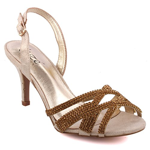 Unze Women 'Barna' Mid High Heel Party Get-Together Soiree Carnival Sandales de soirée Chaussures Royaume-Uni Taille 3-8 Or