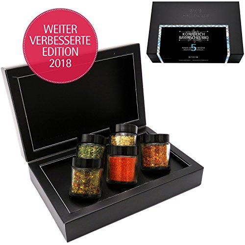 Hallingers 5er Premium-Grill-Gewürze als Geschenk-Set (95g) - Königlich bayrisches BBQ (MiniDeluxe-Box) - zu Bayern & Volksfeste Für Ihn
