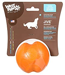 West Paw Design Jive Large 3-1/4-Inch Zogoflex Durable Dog Toy, Tangerine