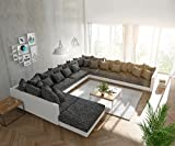 DELIFE Couch Clovis modular Ecksofa, Sofa, Wohnlandschaft Modulsofa (Schwarz Weiss, Sofa XXL Rechts mit Hocker)