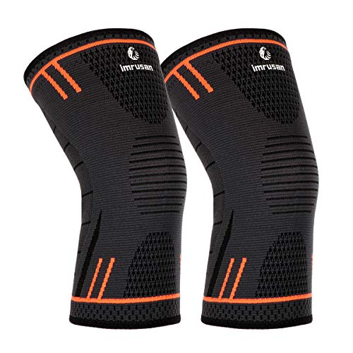 imrusan Kniebandage Kompression Knieschoner, Knieorthese Elastische Sport Knieschützer, Kniepolster Kompression Knie Sleeve für Herren Damen - Volleyball, Basketball, Crossfit (Orange,L)