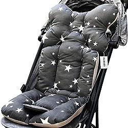 NIBESSER Poussette Coussin Soutien Bébé en Coton Ultra Souple à Toute Saison Coussin Réducteur de Landau (Étoiles grises)