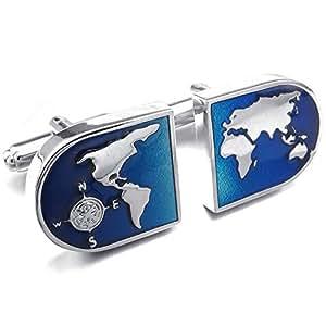 KONOV boutons de manchette-carte du monde-chemise-alliage-bleu/argent-boutons de manchettes