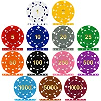 Premier Poker Chips UK - Suited Numbered 12g Poker Chips - Sample Pack Containing all 13 Values