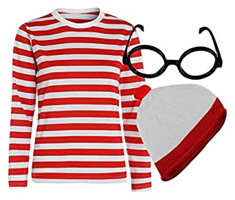 Mens Red And White Striped T Shirt Hat Glasses Book Week