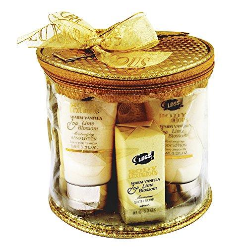 Gloss - caja de baño, caja de regalo para mujeres - Kit de baño - Cuerpo de lujo - vainilla y lima - 7 piezas