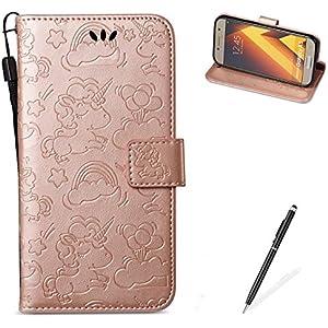 MAGQI For Samasung Galaxy A5 2017 Hülle Leder,[Free 2 in 1 Stylus] Mit Unicorn Muster Flip Schutzhülle PU Wallet Brieftasche Ledertasche im Bookstyle Tasche- Rose Gold
