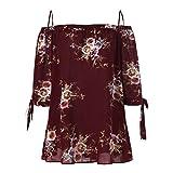 VJGOAL Damen Bluse, Damen Fashion Plus Size Blumendruck Cold Shoulder Bluse Casual Sommer Tops Camis Frau Geschenk (XXXL, Wein)