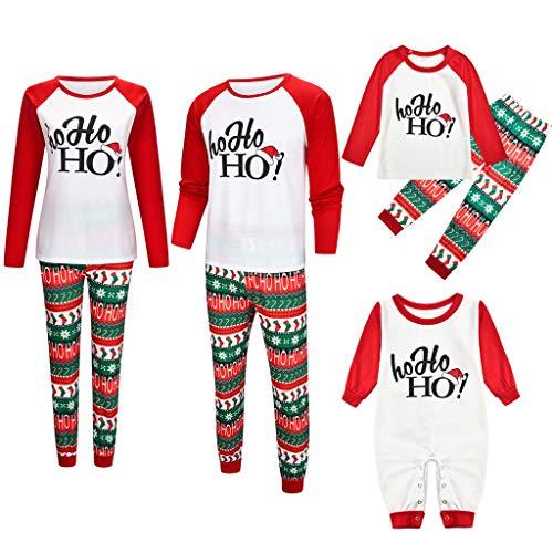 LILIGOD Weihnachten Schlafanzug Familie Pyjama Set Erwachsene und Kinder Langarm Brief Top + Print Hosen Nachtwäsche für Herren Damen Mädchen Jungen Spielanzug Overall Xmas Nachthemd -