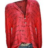 ITISME FRAUEN BLUSE Frauen Plus GrößE V-Ausschnitt Taste Langarm Brief Bluse Pullover Tops ShirtChiffon ÄRmelloses BeiläUfige Bluse Damen Weiches Ladies Elegant Oversize Oberteil Locker Tops T-Shirt