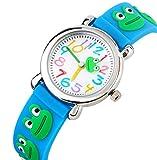 Kinderuhr Vinmori,Kinder Armbanduhr für die jungen Mädchen, 3D Zeit Lehrer Kleinkind Cartoon Uhr, Cartoon Frosch Muster Silikon Band wasserdicht Quarzuhr, beste Geschenk für Kinder (Baby Blau)