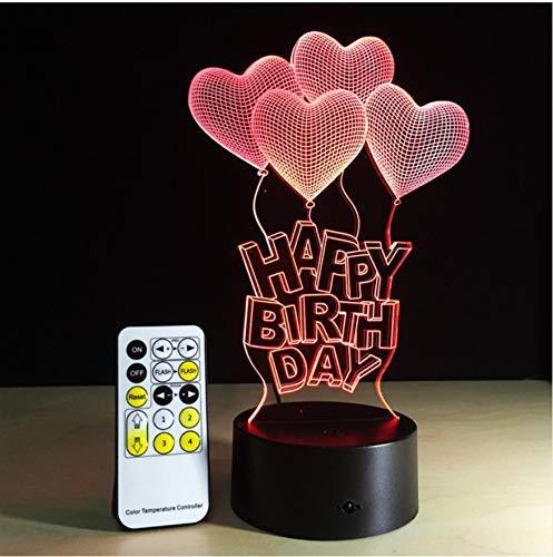 Alles Gute Zum Geburtstag Lampe Led Nachtlicht 7 Farben Für Party 3D Illusion Glow Party Decor Lampe Mit Fernbedienung Oder Touch Control Decor Lampe - Papier-control-board