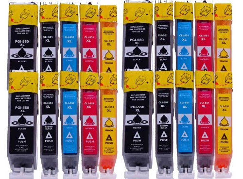 Merotoner 20 Druckerpatronen XL mit Chip Kompatibel zu Canon Pixma MG7550 MG7150 MG6650 MG6450 MG6350 MG5650 MG5550 MG5450s MG5400 MG5450 IP7250 IP8750 IX6850 MX725 MX925 Patronen kompatibel zu je 4 x PGI-550, 4 x CLI-551BK, 4 x CLI-551C, 4x CLI-551M, 4 x CLI-551Y