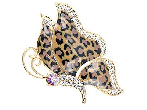 Alilang Gold-Ton-Raum-Kristall farbige Strass Cheetah Schmetterlings-Flügel-Brosche Strass Cheetah