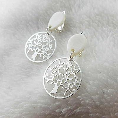 Boucles d'oreilles à clips argent arbre de vie
