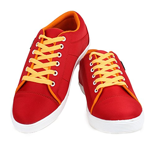 casual chaussures baskets pour hommes conduire chausson lacets usure du parti chaussures en toile Rouge et jaune