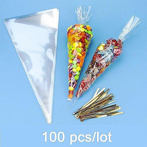 kegel Gebäck Plastiktüten Bonbons Tüten Plätzchen Flachbeutel Süßigkeiten Bodenbeutel mit gold Band für Hochzeit Geburtstag Babyparty Kinderparty (Halloween-süßigkeiten-taschen)