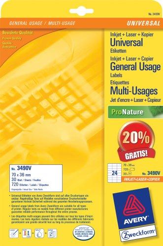 Avery Zweckform Universal-Etiketten, Inkjet, Laser, Farblaser, Kopierer, weiss, 70x36mm, 720 Etiketten, 20% mehr Inhalt gratis Value-Promotion