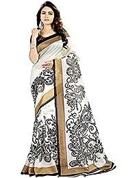 ZPLUESX Women's Cotton Silk Saree With Blouse Piece (White-Black_White)