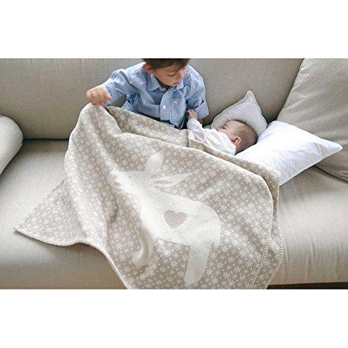 David Fussenegger Baby- und Kinderdecke Lena Esel natur 100x150cm 100% GOTS zertifizierte kbA Baumwolle 6556/80 Personalisiert mit Namen/Personalisiert
