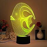 Kreatives Fisch 3D Optische Illusions-Lampen LED Nachtlichter, FZAI Touch Tischlampe Haus Dekoration 7 Farben Einzigartige Lichteffekte zum Kinder Weihnachtsgeschenk