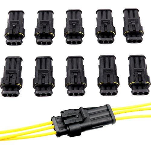 Anschlüsse mit 3-fach Stecker, für elektrische Anschlussklemme von KfZ, Motorrad, Roller, Lastwagen, Boote, wasserdicht, versiegelt, für 1,5-2,5mm² Draht, 10 Stück Marine Elektrische Stecker