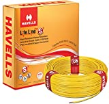 Havells Lifeline Cable WHFFDNYA1X75 0.75 sq mm Wire (Yellow)