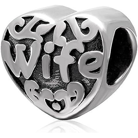 Fascini del cuore I Love You Moglie Famiglia Bead - Argento 925 - regalo di anniversario - Fascini Del Cuore Di Vetro