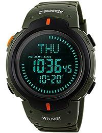 Reloj Digital para Hombres Deportes Militares Relojes para hombres 50m impermeable con Choronograph brújula cronómetro alarma LED luz por funkytop