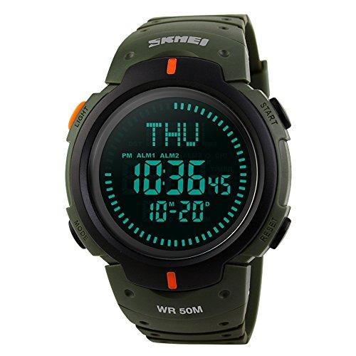 FunkyTop Herren Digitaluhr Sport Militär Uhren für Männer 50M Wasserdicht mit Chronograph Stoppuhr Kompass Alarm LED Licht (grün)