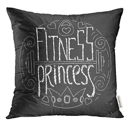 Throw Pillow Cover Active Fitness Princess Circle Lettering Stock for Young Sport Woman and Girl Athletic Decorative Pillow Case Home Decor Square 18x18 Inches Pillowcase