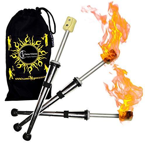 Juggle Dream Pulsar Jonglierfackel 3er-Set (50mm Docht) Pro Jonglierkeulen Feuer + Flames N Games Reisetasche! Profi-Set von Feuer Fackeln.