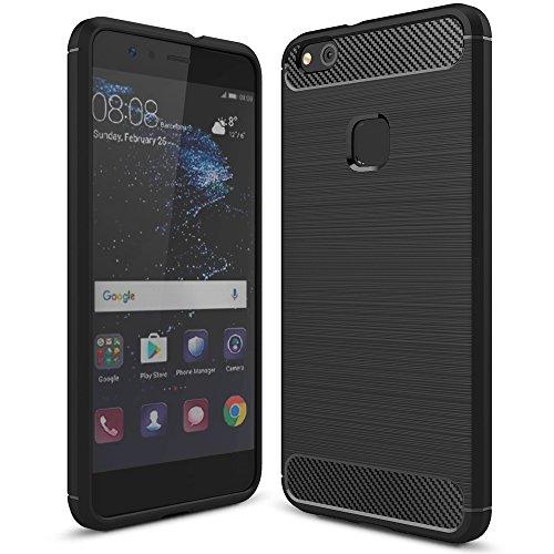 Huawei P10 Lite Hülle Handyhülle von NALIA, Ultra Slim Silikon Case Cover, Dünne Crystal Schutzhülle, Etui Handy-Tasche Back-Cover Bumper, TPU Gummihülle für P10-Lite Smart-Phone, Farbe:Schwarz