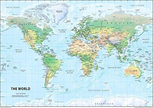 El mundo físico mapa–LAMINADO papel de color tamaño A242x 59,4cm