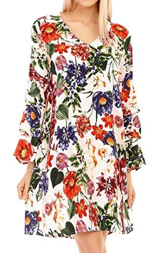 DAMEN Kleid im Blumenmuster Design mit V-Ausschnitt und Trompetenärmel, Gr. 34-40 Weiss 38-40 (Tunika Design)