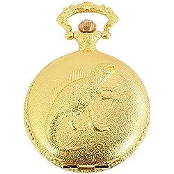 Reloj de bolsillo Blanco Dorado Dino Dinosaurio Analógica Metal Cuarz