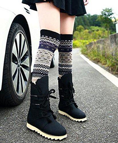 Wealsex Neige Bottes Coton Plat Avec Lacet Femme Tailles 34-43 Noir
