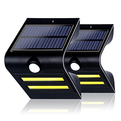 GreenSun LED Infrarot Motion Sensor Solarleuchte Solarbetriebene Sicherheitsleuchte mit 3 Intelligenten Beleuchtungsmodus 2pcs COB Hauptlicht und 3 pcs Blau Atmosphärenlicht Wasserdicht Sicherheits-Bewegungs-Sensor Outdoor Beleuchtung für Garten, Patio, Exterior Garage 2 Stück