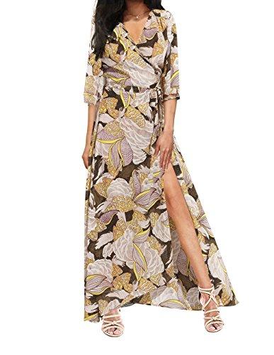 iPretty Sexy Femme Col V Robe Imprimée Manche 3/4 Maxi Dress Robe Plage Avec Ceinture Grande Taille Bohême Jaune