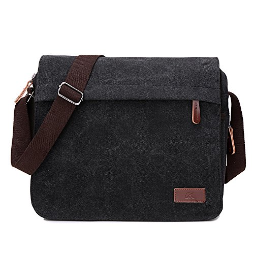 Retro Canvas Messenger Bag Shoulder Crossbody Bag Laptop Bag Satchel Bag for Men and Women (BLACK)