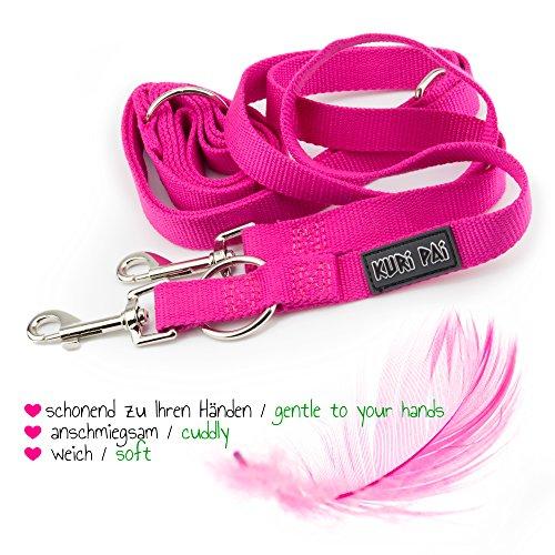 KURI PAI Pinke Hundeleine Für Mittelgroße Hunde, Mehrfach Verstellbar, 3m Leine (1,5m - 2,8m) Doppelleine (2.0cm breit, Pink), Für Zwei Hunde, Umweltfreundlich Aus Bambus - 6